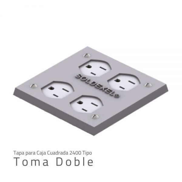 Tapa para caja cuadrada 2400 TOMA DOBLE