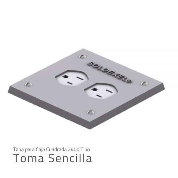 Tapa para caja cuadrada 2400 TOMA SENCILLA